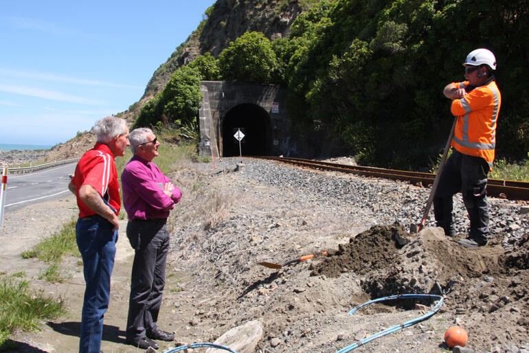 Scott from Downer talks with Bishop Richard about aftershocks and what it's like trying to dig up fibre optic cables.