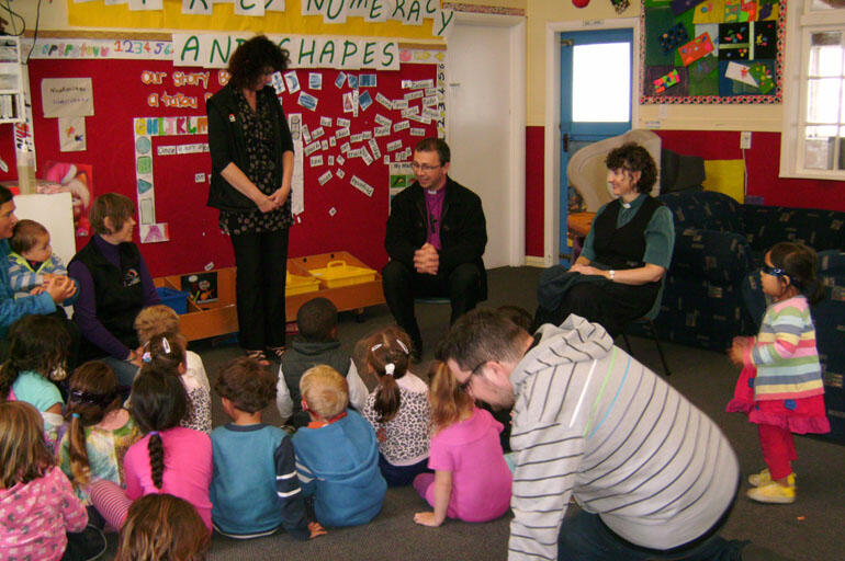 Bishop Andrew sits in with teachers and pupils at St Matthew's School.