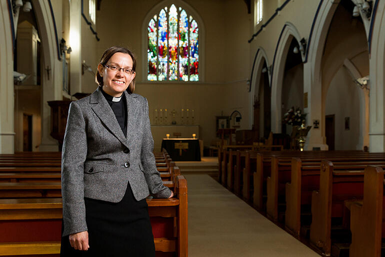 Bishop-elect Helen-Ann sizes up 'her' new cathedral.