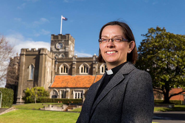 The next Bishop of Waikato outside St Peter's Cathedral in Hamilton.