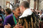 That's Taranaki matriarch Maata Wharehoka exchanging the hongi with Taranaki Cathedral's Dean Jamie Allen.