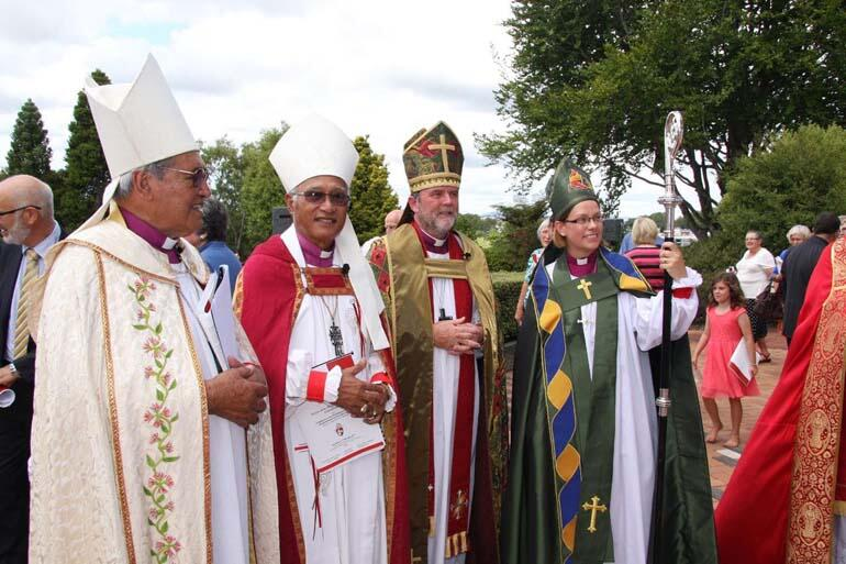 From left: Archbishops Brown Turei, Winston Halapua and Philip Richardson with the new Bishop of Waikato.