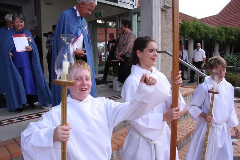 The acolytes celebrating their new Bishop.