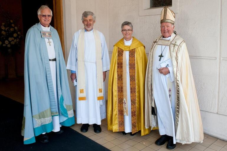 Napier cathedral deans, past and present. From left: Bishop Murray Mills, Noel Hendery, Helen Jacobi and Bishop David Coles.