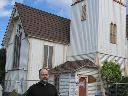 Rev Andy Carley outside St Paul's, Papanui.