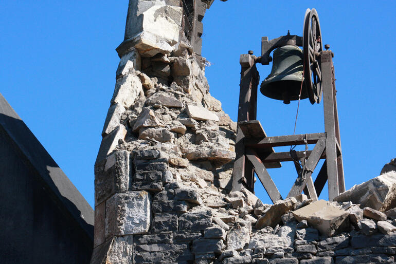 The Canterbury quake's toll. A closeup of the wrecked belltower at St John's Latimer Square.