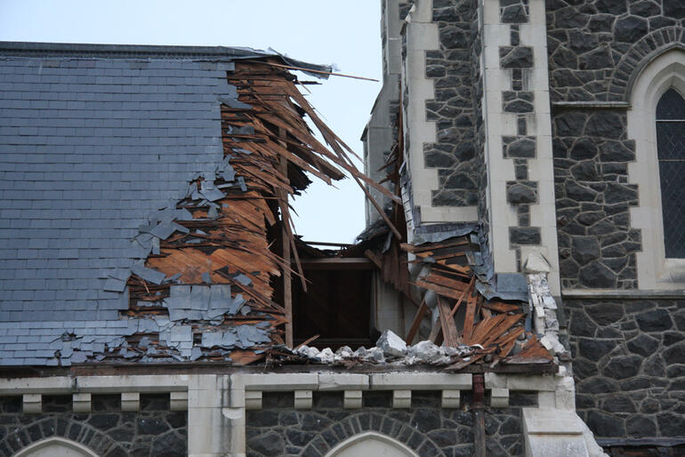 The tower at St John's Hororata has partially collapsed, puncturing the church roof.