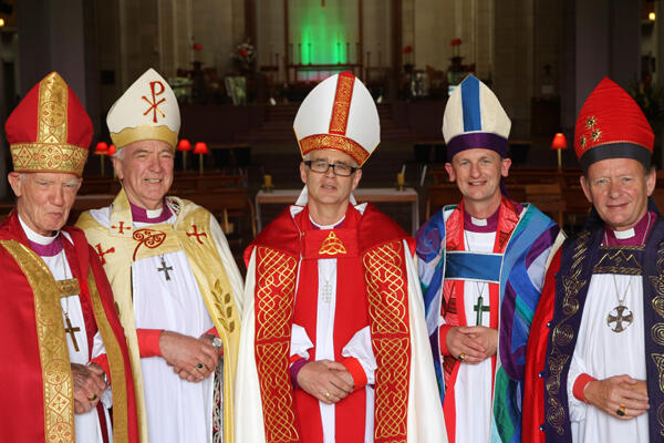 Auckland bishops, past and present: L-R: Bruce Moore, Richard Randerson, Jim White, Ross Bay and John Paterson.