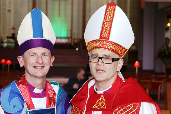 Auckland's Diocesan Bishop, Ross Bay, with his new Assistant Bishop, Jim White.