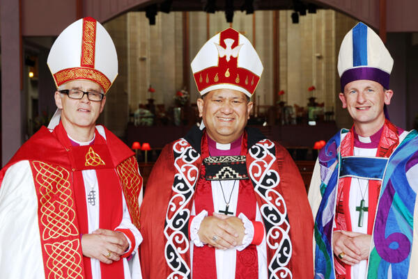 The three serving Anglican bishops in the north: Bishop Jim, Bishop Kito Pikaahu (Tai Tokerau) and Ak diocesan Bishop Ross Bay.