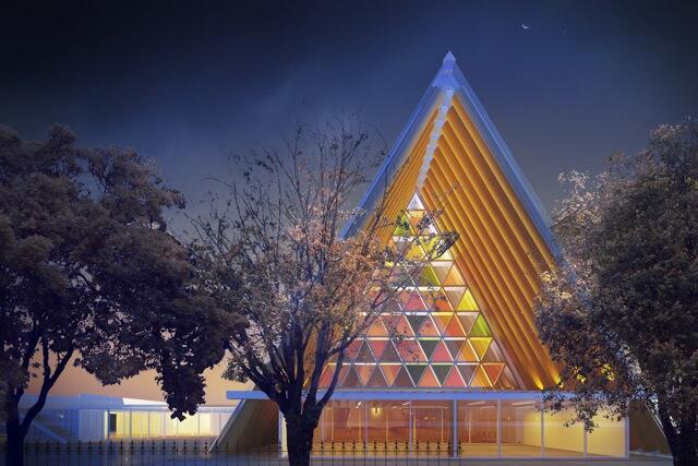An architect's impression of Christchurch's Transitional Cathedral.