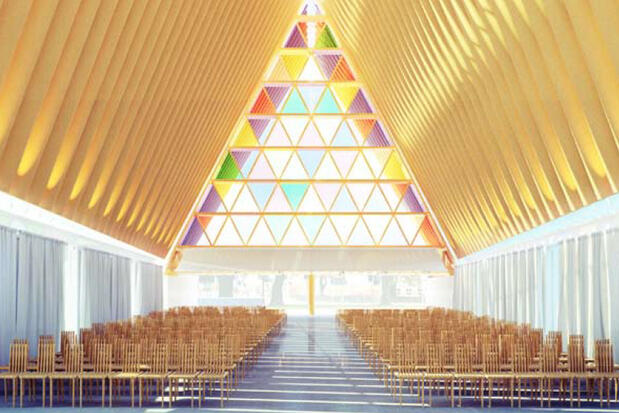 Artist's impression of the interior of the Transitional Cathedral.