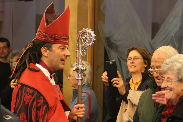 After his ordination, Wellington's new Anglican bishop, Justin Duckworth, greets wellwishers.