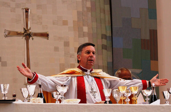 Archbishop David Moxon concelebrated with Archbishop Winston Halapua.