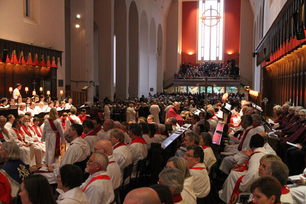 Some of the vast throng that jammed into the cathedral. It took perhaps 15 minutes for everyone to make their communion.