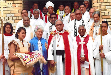 The Ven 'Amanaki Tu'itavake (centre), the new Archdeacon for the Diocese of Polynesia in Aotearoa New Zealand.