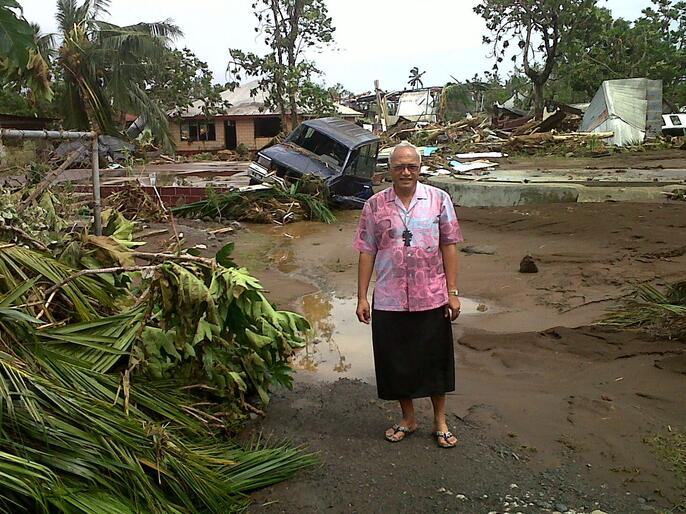 Archbishop Winston Halapua checks out the damage caused by Cyclone Evan before Christmas.