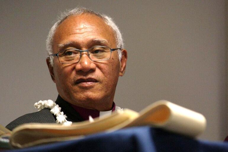 Bishop Winston listens to the formal announcement, at the General Synod in May this year, of his election as Bishop of Polynesia.
