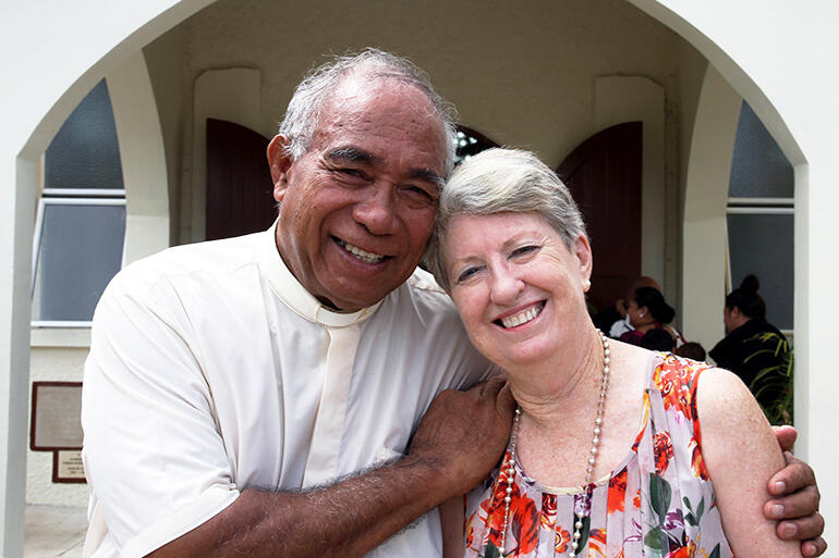 Joe and Anne Le'ota - seen here in May 2014, immediately after the rededication of St Paul's Nuku'alofa.