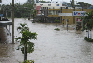 A flooded service station in Nadi.