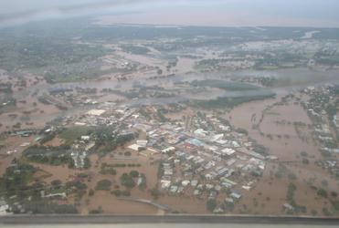 An aerial view of the Nadi flooding