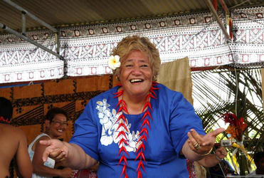 Christina Tapu gets into the swing of the Samoan cultural presentation at Fiji's centenary.