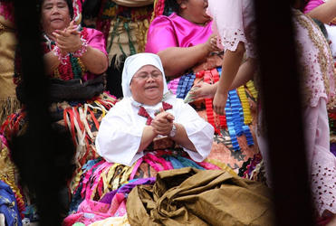 Sr Fehoko, from the CSN in Tonga, takes time out for prayer during the Tongan presentation at Fiji's centennial celebration.