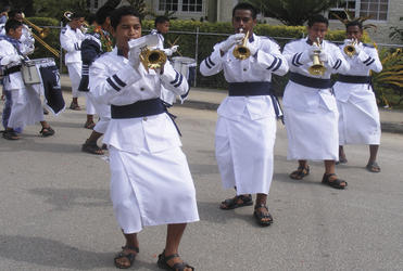 The St Andrew's High School band performs during Tonga's coronation.