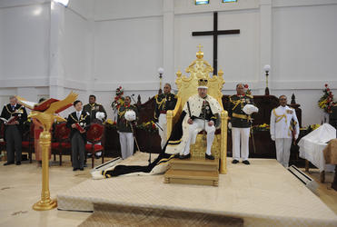 Tonga's new King presides over his court.