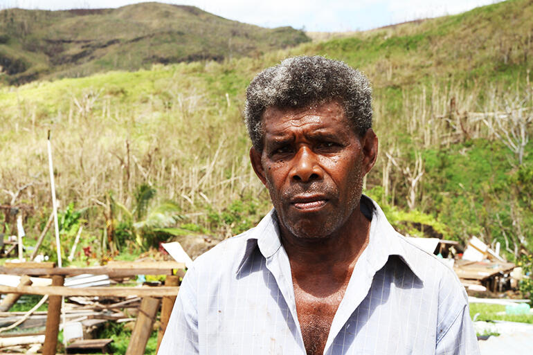 Simione Ravu, aged 66, who had a miraculous escape from Cyclone Winston's fury.