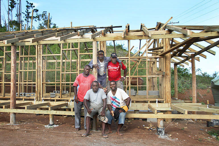 The team working on the dormitory rebuild include carpenters from Suva, and labourers from Maniava.