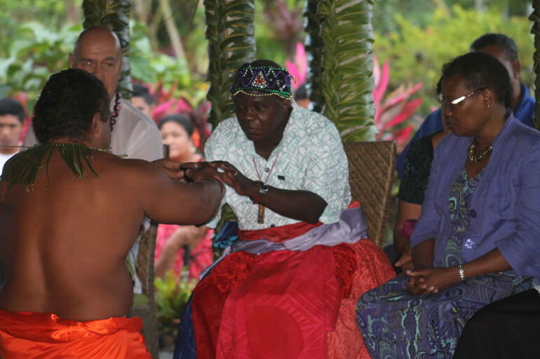 Archbishop Sentamu is bestowed Chief or 'Matai' To'osavili in the village of Poutasi in the District of Falealili. – Samoa Tourism
