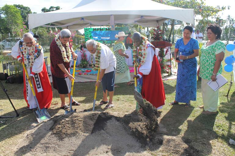 Ground breaking for a new school at Malifa.
