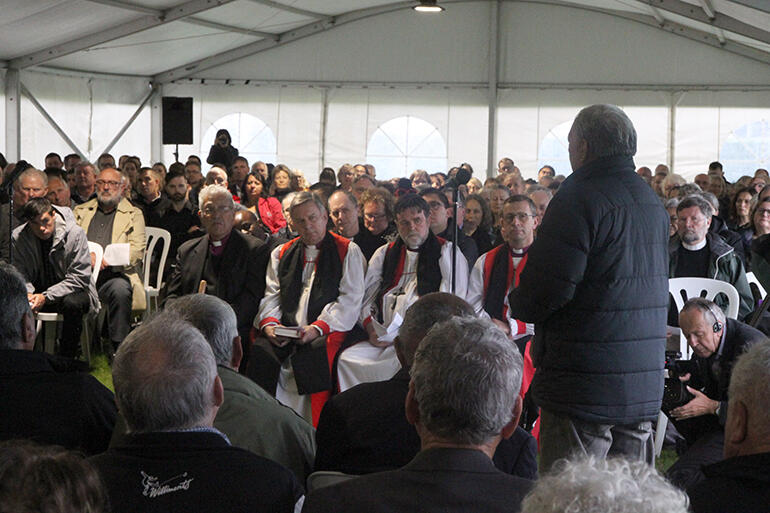 A kaumatua for the tangata whenua speaks during the powhiri.