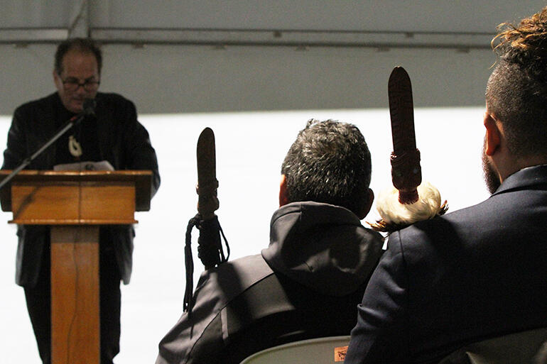 Dr Alistair Reese unpacks the history - the two taiaha bearers are men from Ngai Tukairangi.