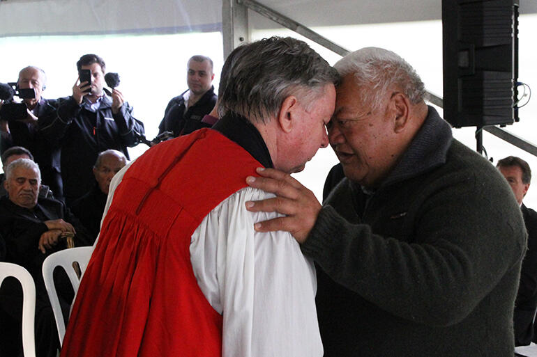 Peri Kohu exchanges the hongi with Archbishop Sir David Moxon. Archbishop David had steered the apology process from the church's side.