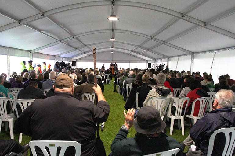 The view from the back of the marquee while the apology was being read.