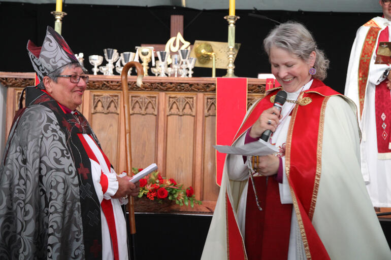 Bishop Riscylla Shaw brings blessings from Canadian Indigenous Archbishop Mark MacDonald and the First Nations, Inuit and Métis peoples.