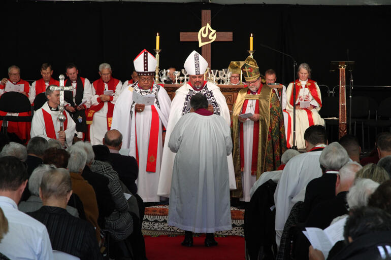 Waitohiariki Quayle stands before the archbishops ready to commit herself to the role of bishop.