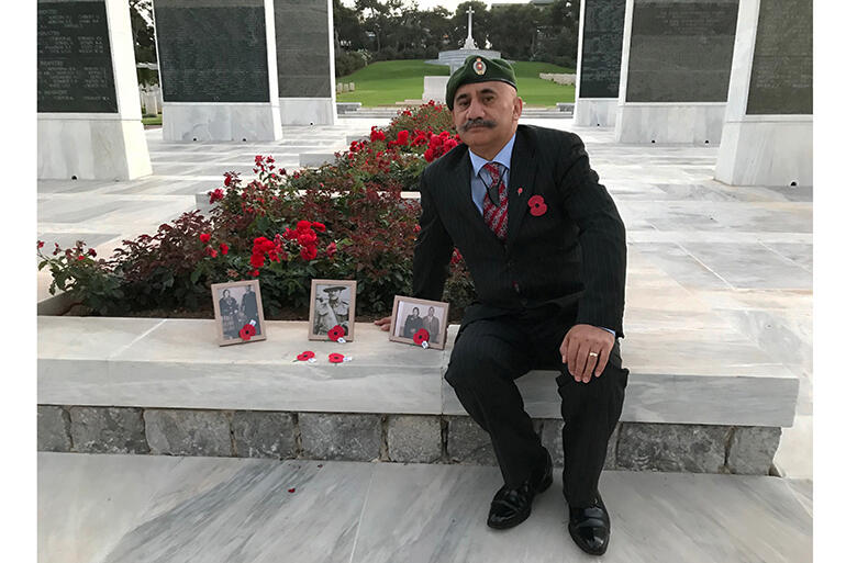 Colenso at the Phaleron War Cemetery in Athens. He completed his poroporoaki to his Uncle Sonny - whose portrait is flanked by photos of his parents.