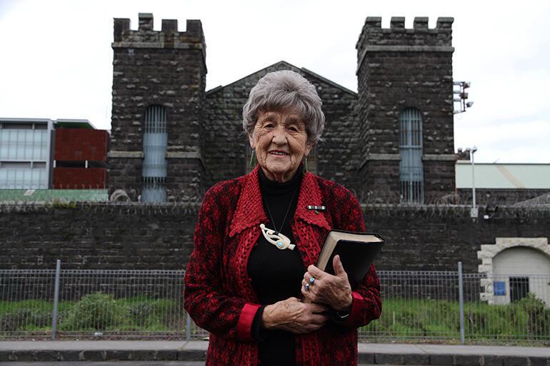 File photo: May, aged 93, outside Mt Eden in 2013. She was still a regular visitor then.