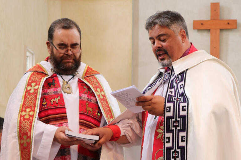 Archbishop Don Tamihere blesses Rev Dr Hirini Kaa's book, 'Te Hāhi Mihinare: The Māori Anglican Church' at its launch on 28 Nov 2020 in Wairoa.