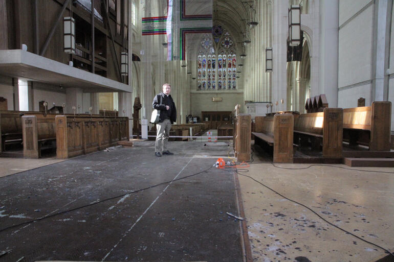 The built-up staging in St Paul's Cathedral sanctuary will have to come out as building work begins on the apse roof.