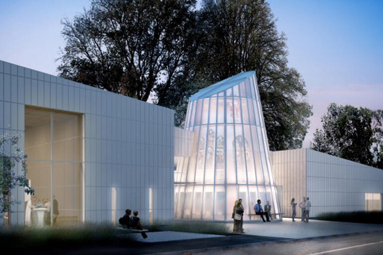 Architect's impression shows how All Souls' tower chapel glows as dusk approaches.