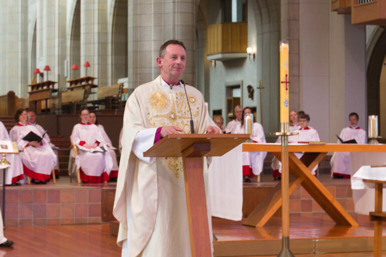 Bishop Ross Bay shares a happy recollection of Bishop Jim White in the third eulogy.