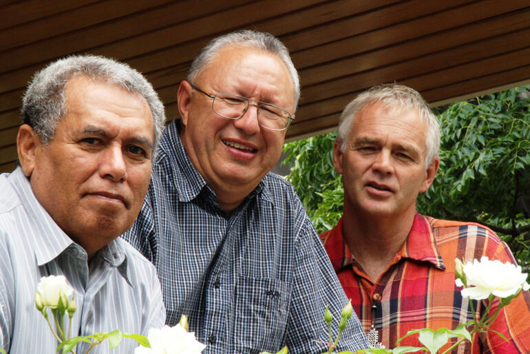 The three Deans of St John's College: Frank Smith, Rangi Nicholson and Jim White smile for the camera in 2009. Photo: Lloyd Ashton