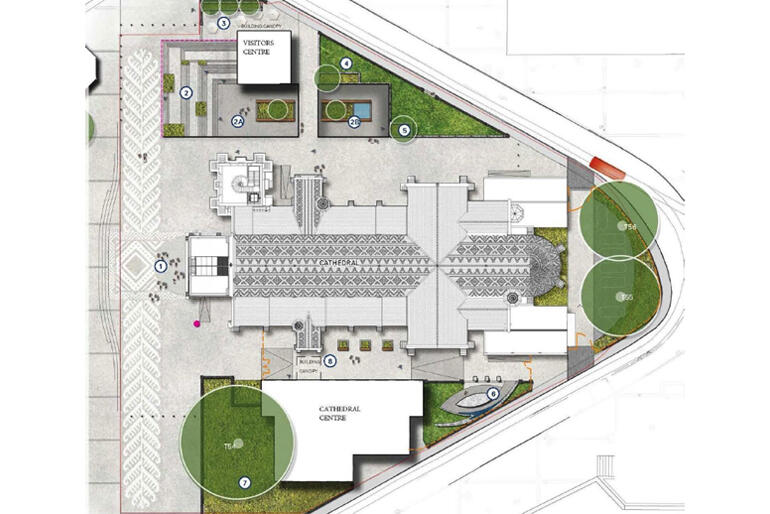 An aerial view shows the new division of spaces within the Cathedral Quarter.