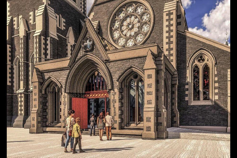 The main entrance to the Cathedral will welcome visitors and worshippers via a larger, lighter porch that connects better with the Square.