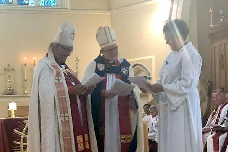 Bishop Ngarahu Katene and Archbishop Philip Richardson lead the commissioning of Dean Wendy Scott as Dean of St Peter's Cathedral.