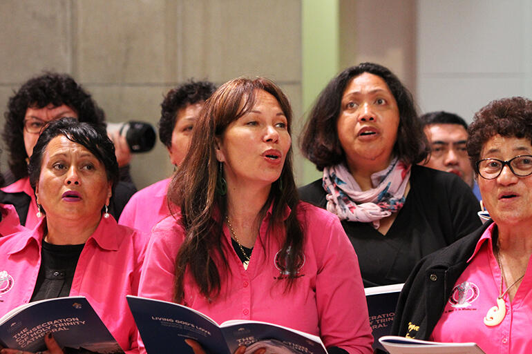 Members of the Auckland Anglican Maori Choir singing The Lord's Prayer during communion.